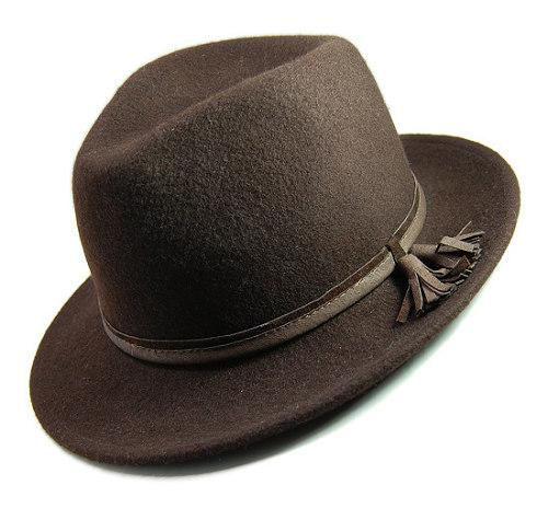 帽子の材料:ウールフェルトの中折れハット