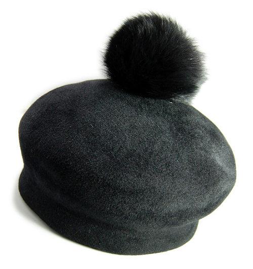 帽子の材料:ファーフェルト(ベロア)のベレー帽
