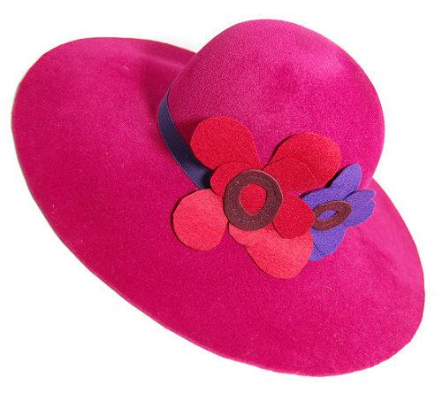 帽子の材料:ファーフェルト(ベロア)のつば広